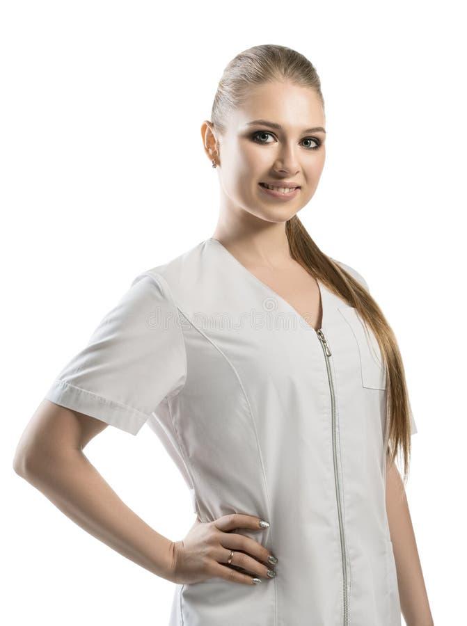 Hübsche Krankenschwester in weiße Uniform geernteter Ansicht stockbilder