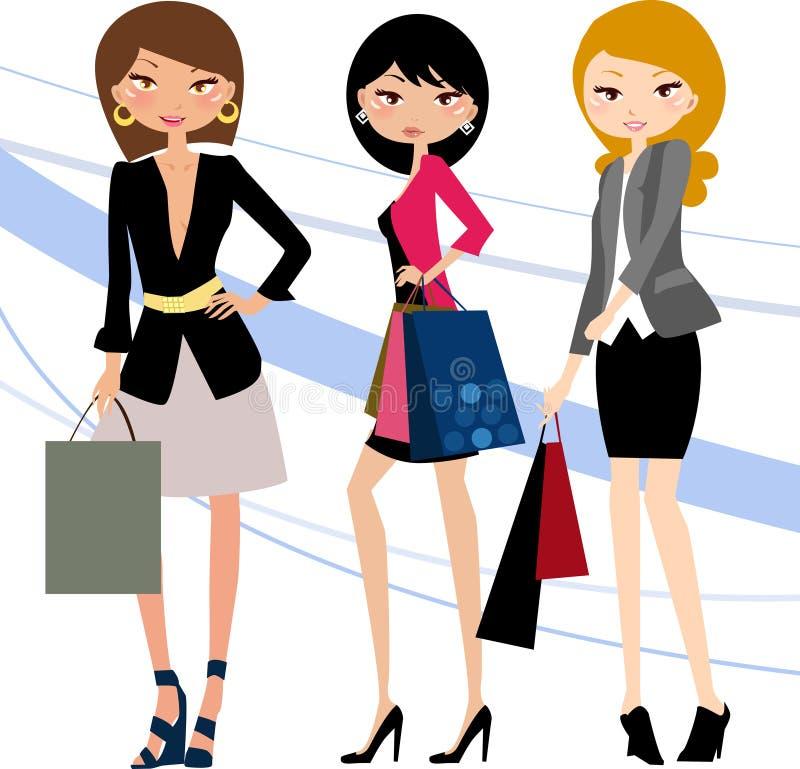 Hübsche Mädchen mit Taschen e lizenzfreie abbildung