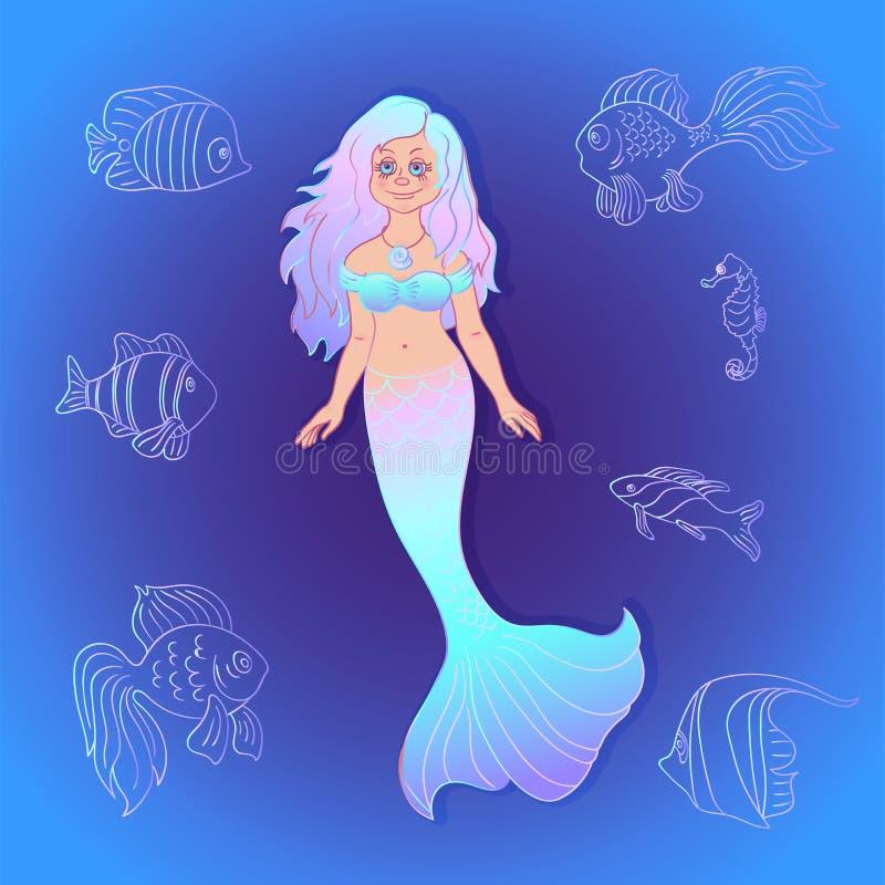 Hübsche Meerjungfrau des Vektors mit Seefischkarikaturart lizenzfreie abbildung
