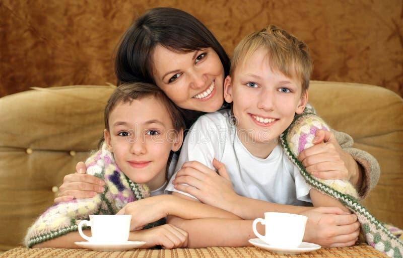 Hübsche Mutter mit ihren Söhnen lizenzfreies stockbild