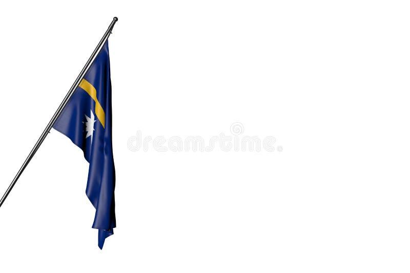 Hübsche Nauru-Flagge hängt an einem diagonalen Pfosten, der auf weiß- jede mögliche Illustration der Feiertagsflagge 3d lokalisie lizenzfreie abbildung
