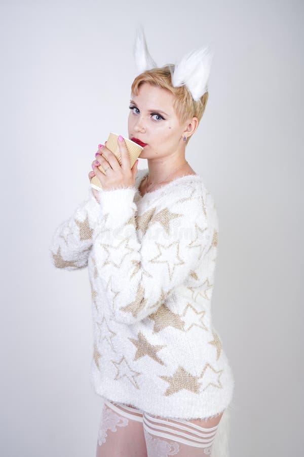 Hübsche Pluswearng Frau der größe kaukasische Mode gestrickte warme Strickjacken- und Pelzkatzenohren und Aufstellung auf weißem  lizenzfreies stockbild