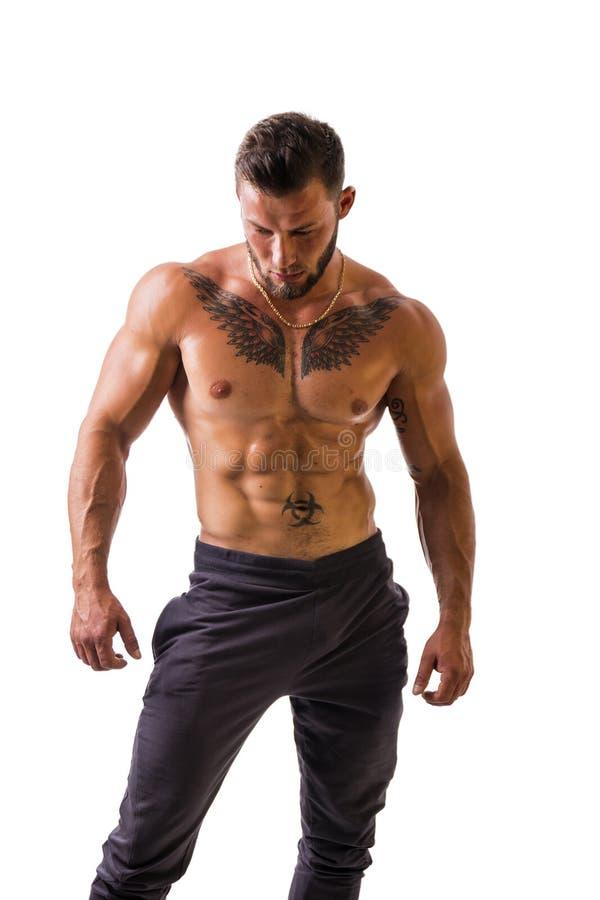 Hübsche schulterfreie muskulöse Mannstellung, lokalisiert lizenzfreies stockbild
