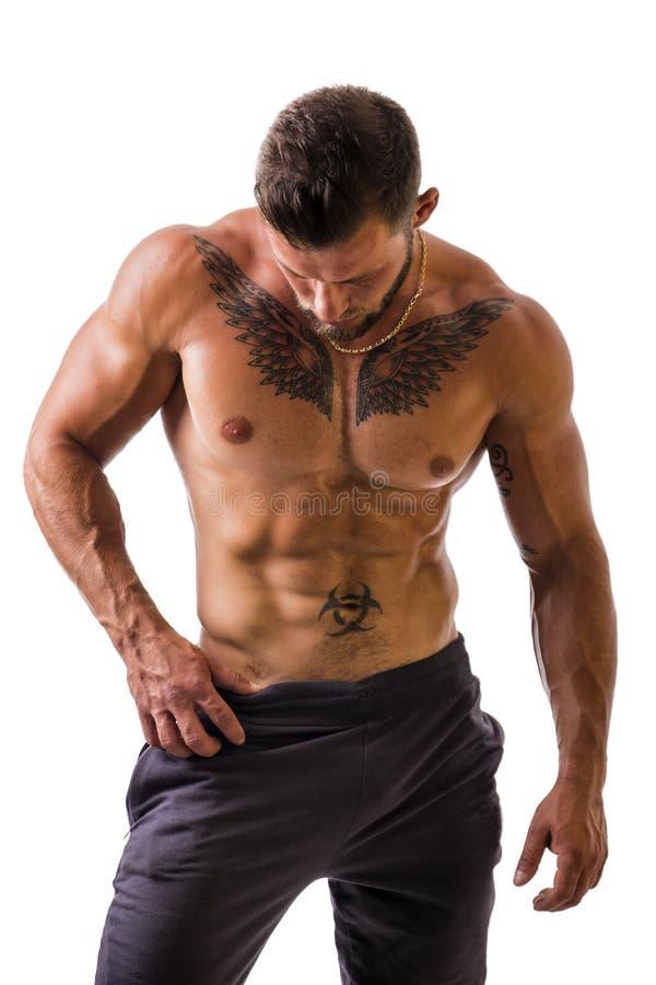 Hübsche schulterfreie muskulöse Mannstellung, lokalisiert lizenzfreie stockfotografie
