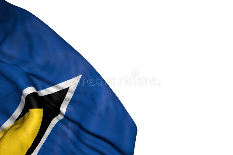 Hübsche St. Lucia-Flagge mit den großen Falten, die in der unteren linken Ecke lokalisiert auf weiß- irgendeine Illustration der  lizenzfreie abbildung