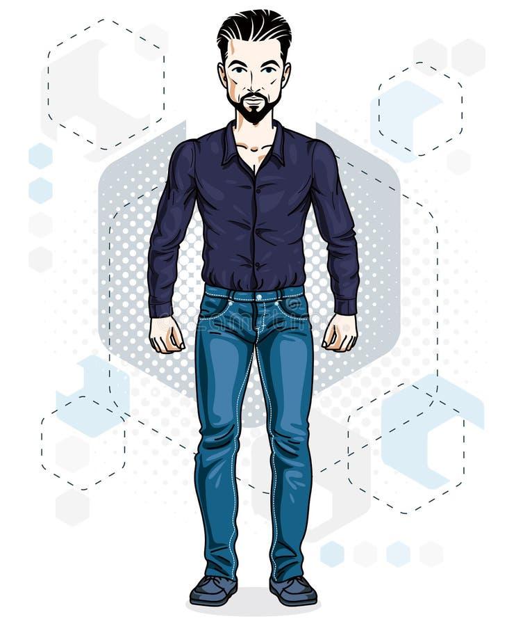 Hübsche Stellung des jungen Mannes der Brünette Vektorillustration von Mann w lizenzfreie abbildung