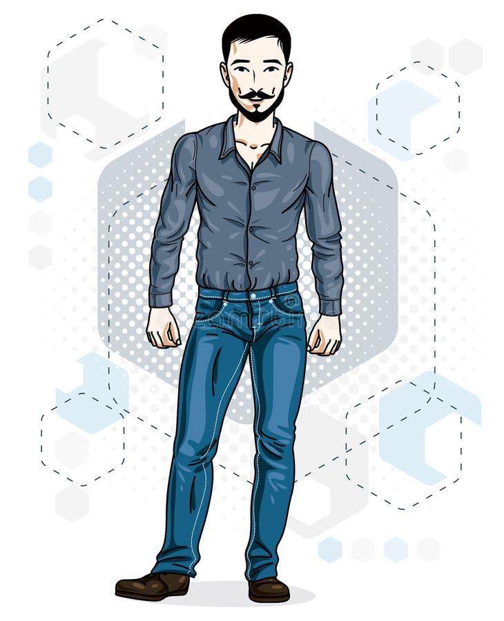 Hübsche Stellung des jungen Mannes der Brünette Vektorillustration von Mann w stock abbildung