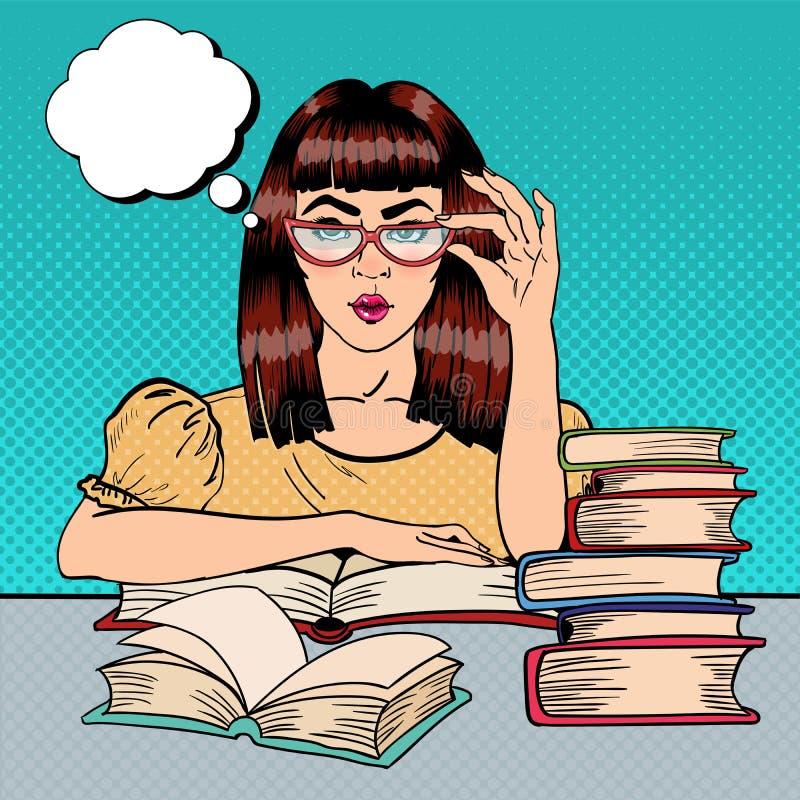 Hübsche Studentin Reading Books in der Bibliothek Pop-Art stock abbildung
