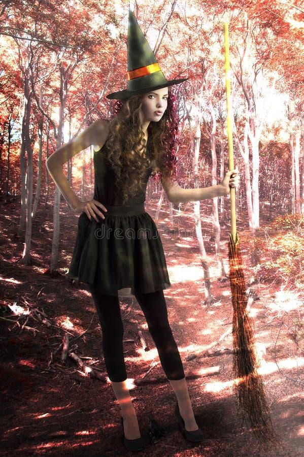 Hübsche und nette Hexe mit Besen innerhalb eines Waldes lizenzfreie stockfotografie