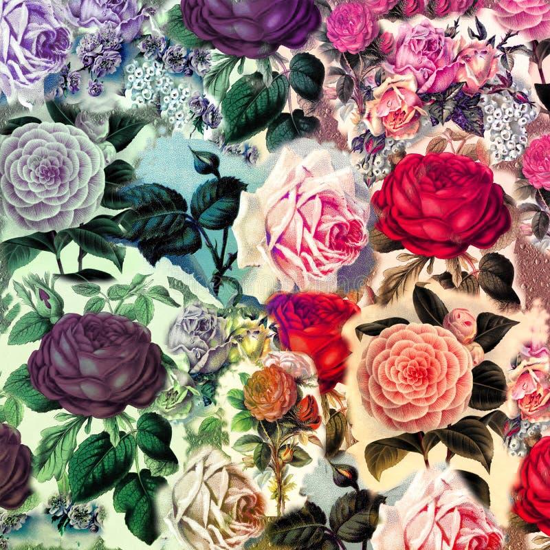 Hübsche Weinlese-Blumencollagen-Zusammensetzung lizenzfreie abbildung