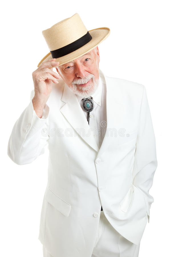 Älterer südlicher Herr spitzt Hut stockbilder