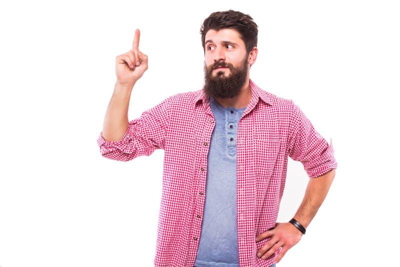 Hübscher bärtiger Mann haben eine Idee lizenzfreies stockfoto