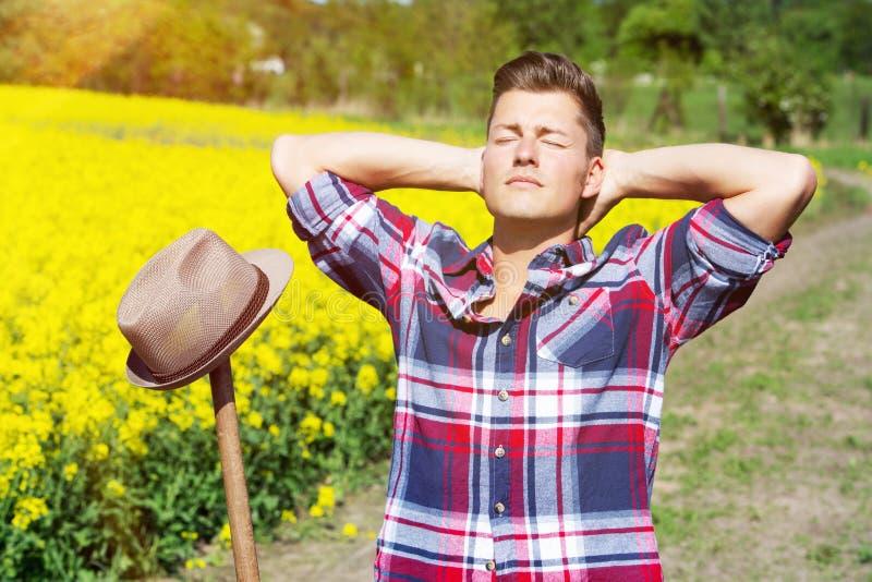 Hübscher blonder Mann vor gelbem Feld die Sonne genießend stockfoto