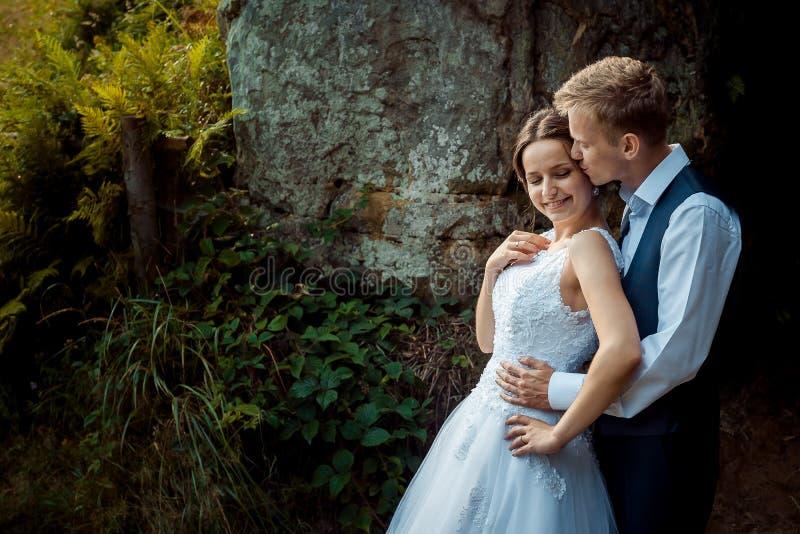 Hübscher Bräutigam küsst die schöne lächelnde Braut in der Stirn beim sie auf den Bergen zurück umarmen stockfoto