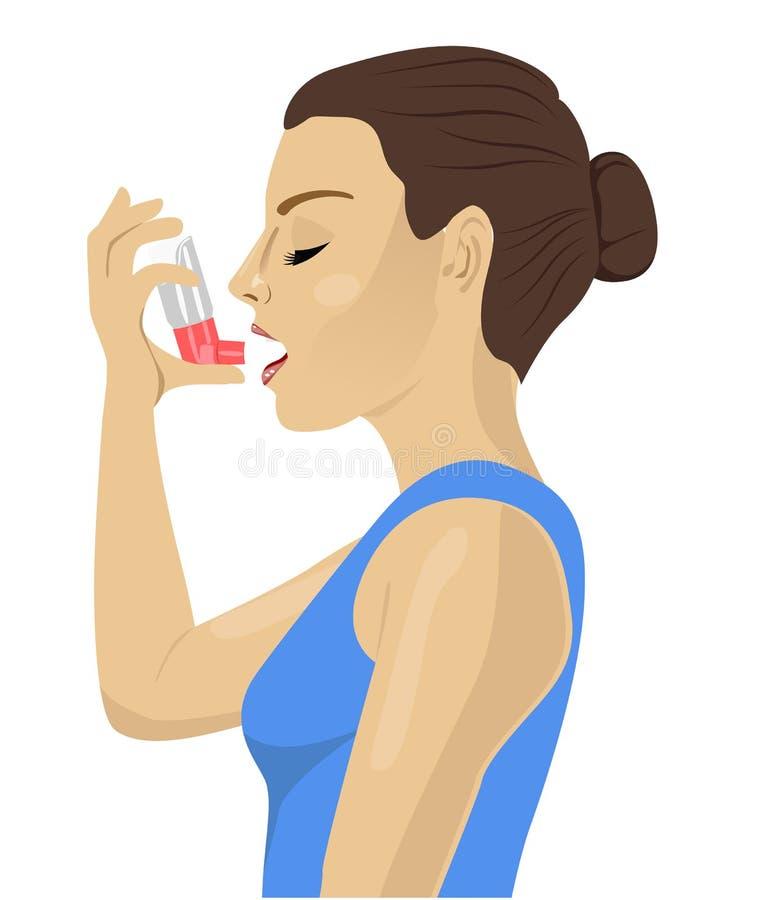 Hübscher Brunette, der einen Asthmainhalator auf weißem Hintergrund verwendet stock abbildung