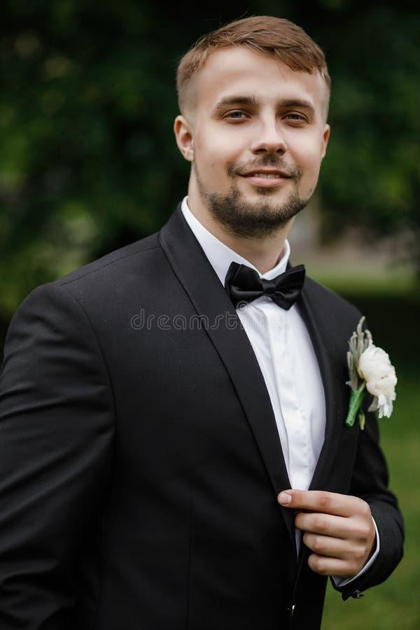 Hübscher eleganter bärtiger Bräutigam Stilvolle Hochzeit pflegt Foto lizenzfreie stockbilder