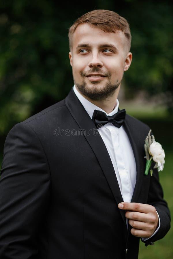 Hübscher eleganter bärtiger Bräutigam Stilvolle Hochzeit pflegt Foto lizenzfreie stockfotografie