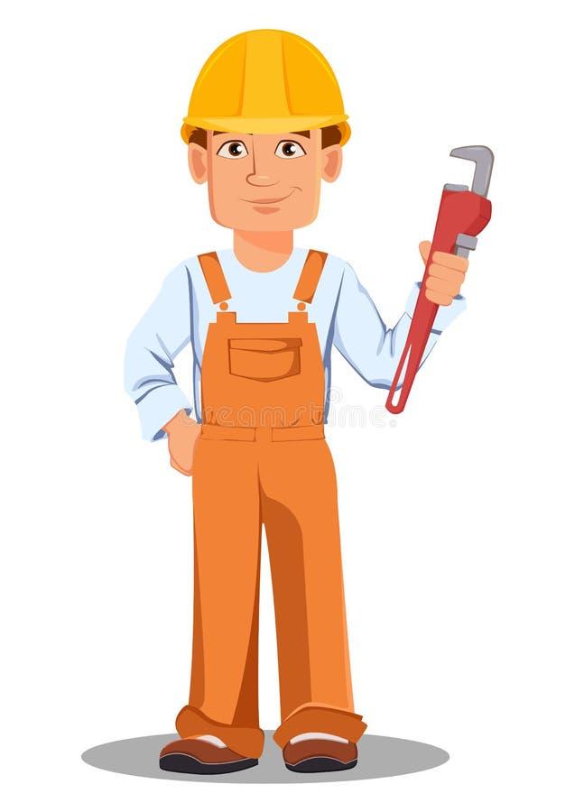 Hübscher Erbauer in der Uniform Berufsbauarbeiter stock abbildung