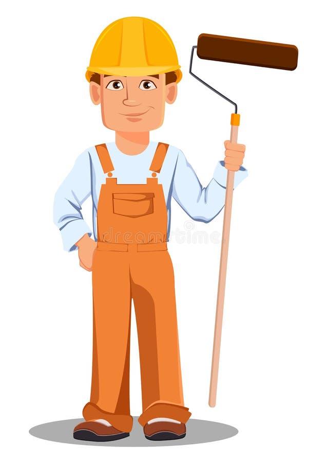 Hübscher Erbauer in der Uniform Berufsbauarbeiter lizenzfreie abbildung