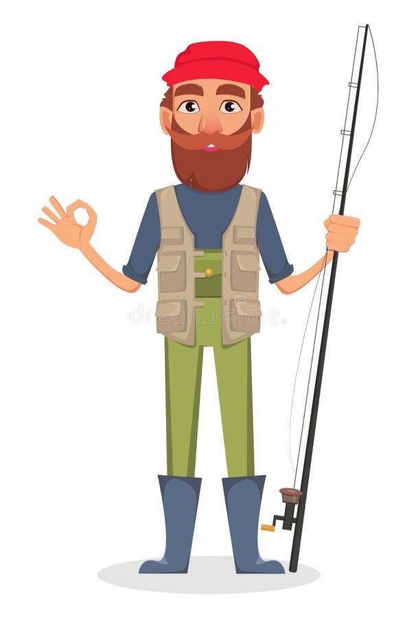 Hübscher Fischer, nette Zeichentrickfilm-Figur stock abbildung