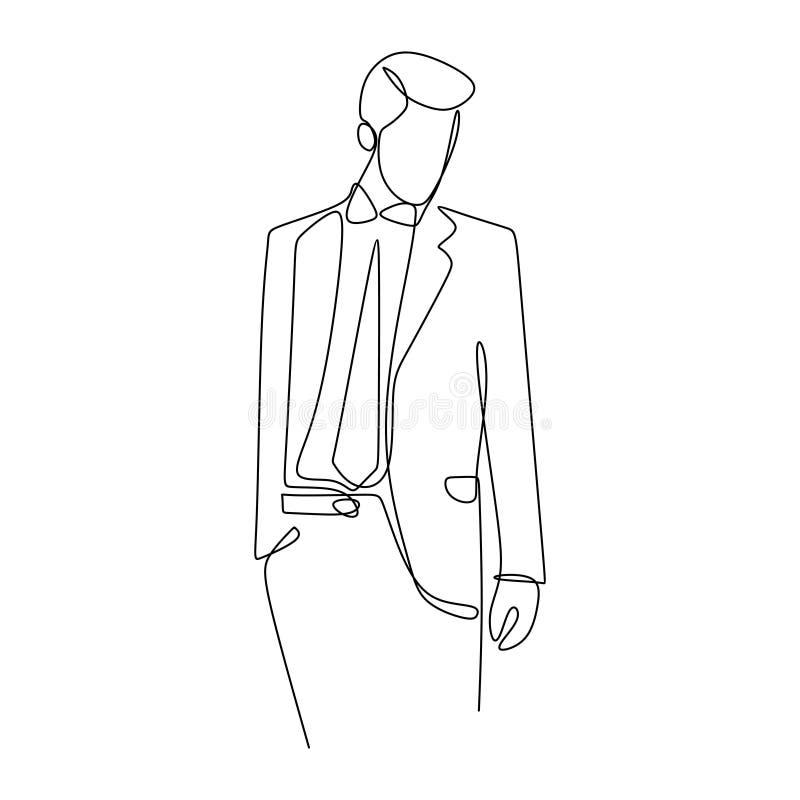 Hübscher Geschäftsmannblick sehr kühl und überzeugt mit ununterbrochene Handgezogener Linie Kunstentwurfsvektor-Illustrationsmini stock abbildung