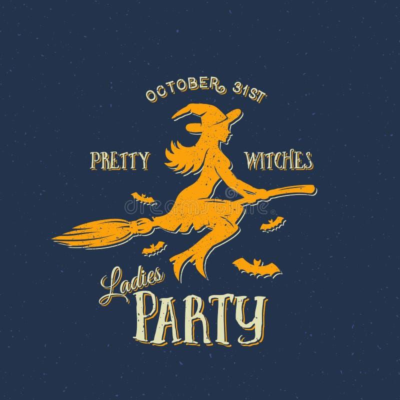 Hübscher Hexen-Damen-Partei-Halloween-Vektor-Aufkleber, Emblem oder Karten-Schablone Retro- schäbige Beschaffenheiten vektor abbildung