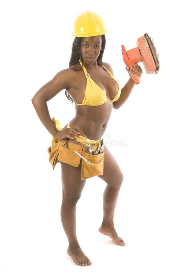 Hübscher hispanischer Fremdfirmabikini der schwarzen Frau stockfotos