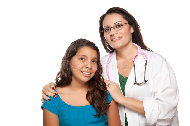 Hübscher hispanischer Mädchen-und Frau-Doktor stockfotografie