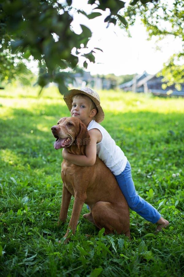 Hübscher Junge, der mit seinem Hund am Park spielt lizenzfreie stockbilder