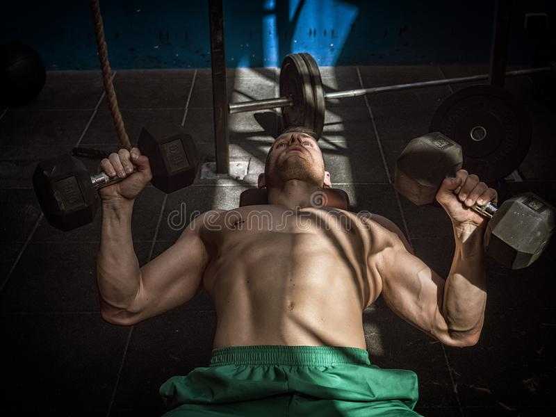 Hübscher junger Mann, der ABSübungen auf Turnhallenbank tut lizenzfreies stockbild