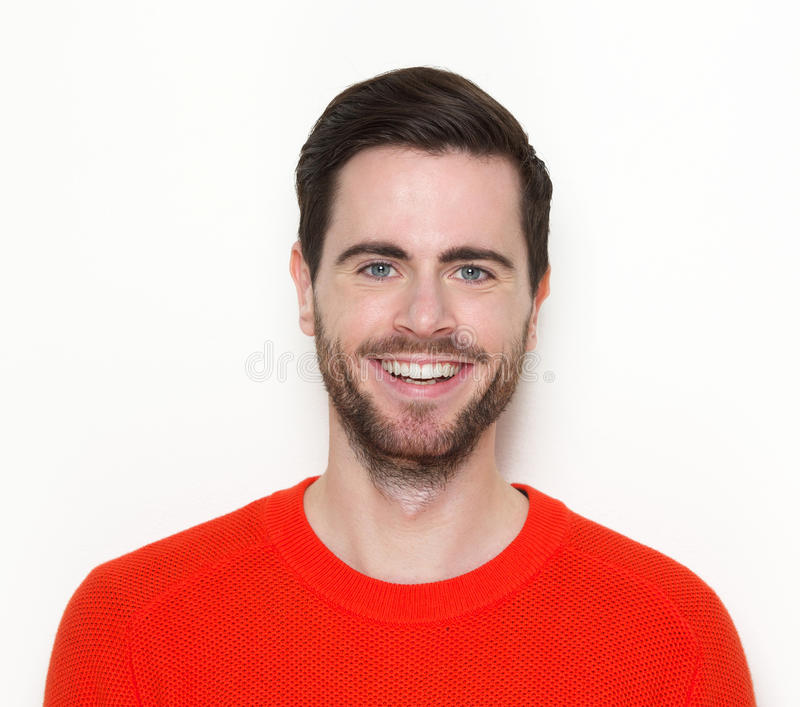 Hübscher junger Mann mit dem Bartlächeln stockbild