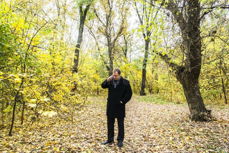 Hübscher junger Mann mit einem Smartphone auf der Straße sprechend im Park stockbilder