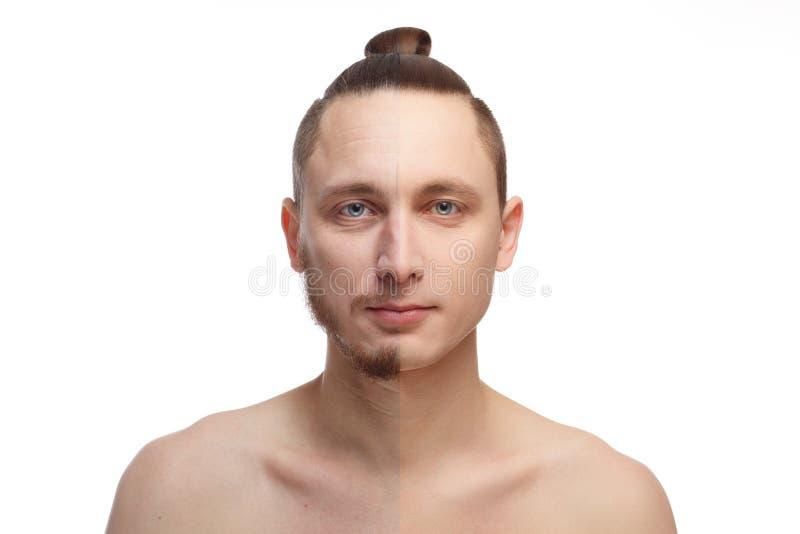 Hübscher junger Mann mit Hälfte rasierte das Gesicht, das Kamera betrachtet lizenzfreies stockbild