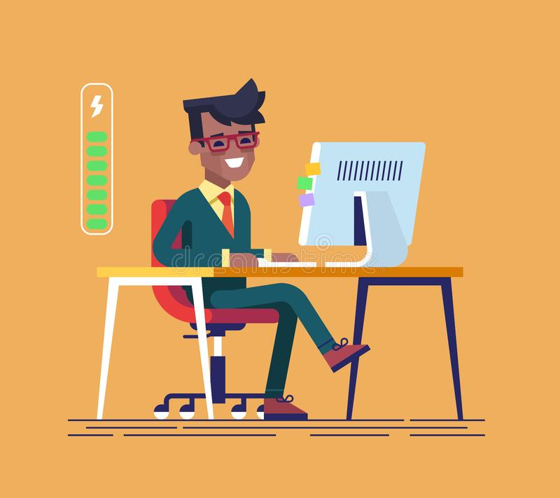 Hübscher junger schwarzer Geschäftsmanncharakter voll der Energie zu arbeiten Flache Karikaturillustration des Vektors lizenzfreie abbildung