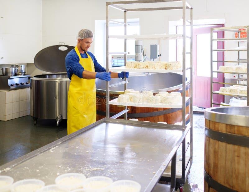 Hübscher Käsehersteller, der Quark in seiner Fabrik macht lizenzfreie stockfotos