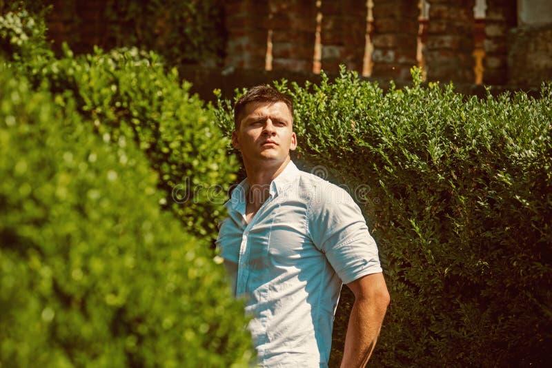 Hübscher Kerl auf Sommerferien Mann genießen Sommertag im Park Macho mit jungem Gesicht Modernes Hemd der vorbildlichen Abnutzung stockbilder