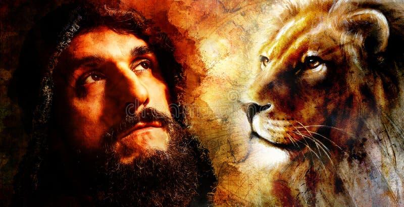 Hübscher Krieger mit dem Löwe, der an sein folgendes Abenteuer, abstrakter Watercolourarthintergrund denkt lizenzfreie abbildung