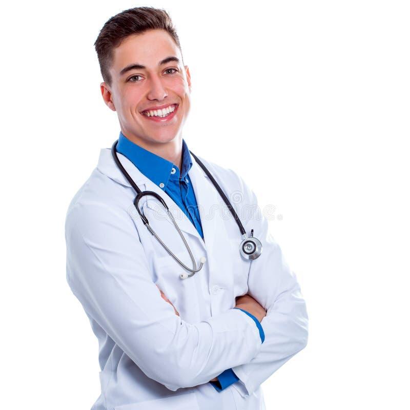 Hübscher Medizinstudent lokalisiert lizenzfreies stockbild
