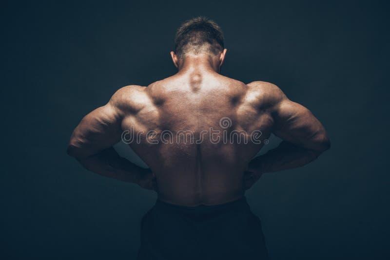 Hübscher muskulöser Bodybuilder, der über Schwarzem aufwirft lizenzfreies stockbild
