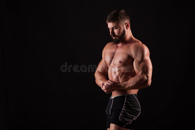 Hübscher muskulöser Bodybuilder, der über schwarzem Hintergrund aufwirft lizenzfreie stockbilder