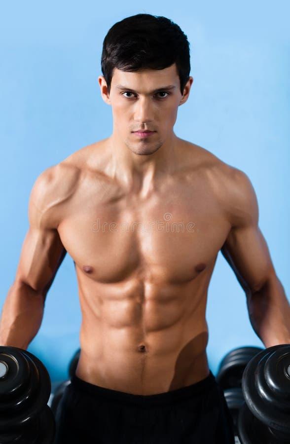 Hübscher muskulöser Mann verwendet den Dumbbell stockbild