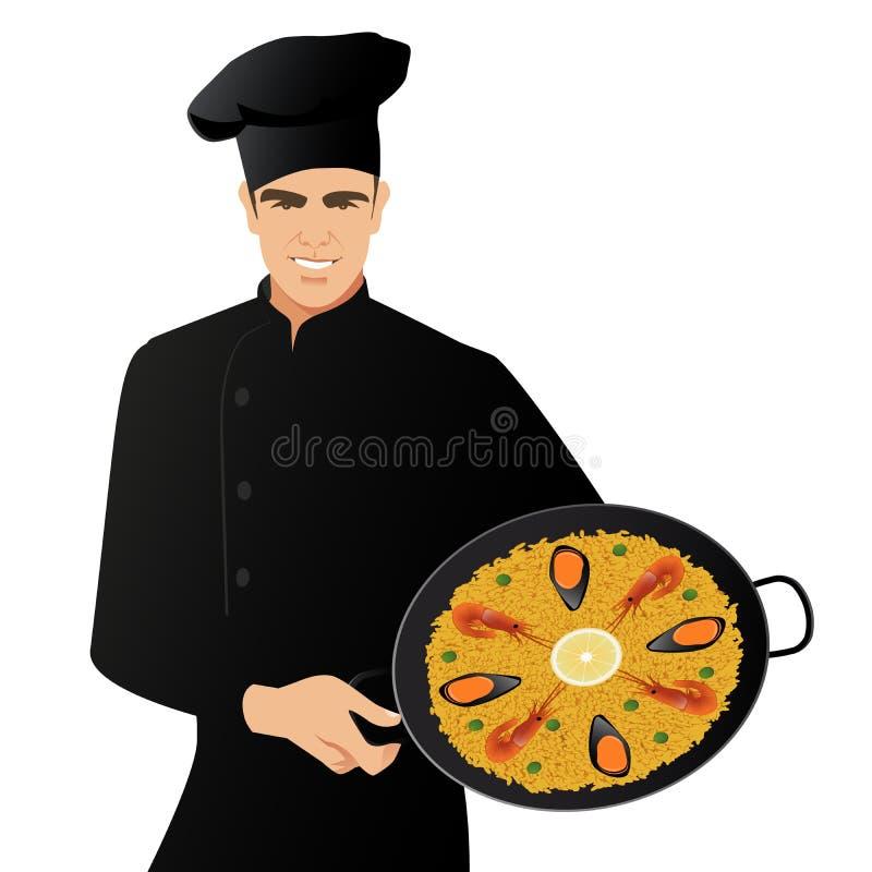 Hübscher spanischer Chef, der einen Küchenhut hält eine Wanne mit der typischen spanischen Paella lokalisiert auf weißem Hintergr vektor abbildung