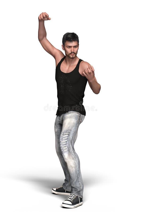 Hübscher städtischer Fantasiemann in den Jeans lokalisiert vektor abbildung