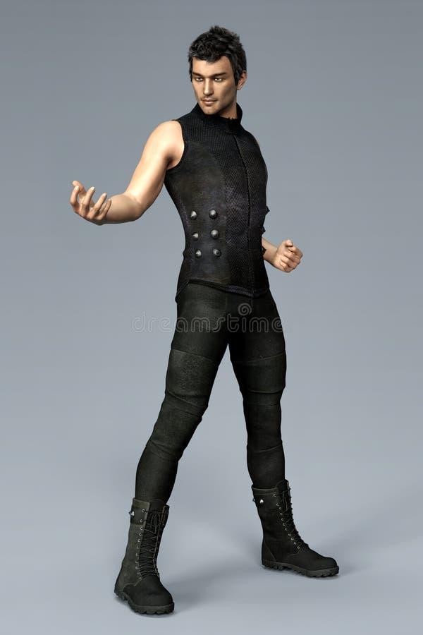 Hübscher städtischer Kriegersmann, der schwarze gotische Artkleidung in einer städtischen Fantasiearthaltung trägt vektor abbildung