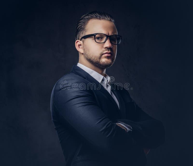 Hübscher stilvoller Geschäftsmann mit ernstem Gesicht in einem eleganten Gesellschaftsanzug, der mit den gekreuzten Armen steht L lizenzfreie stockfotografie