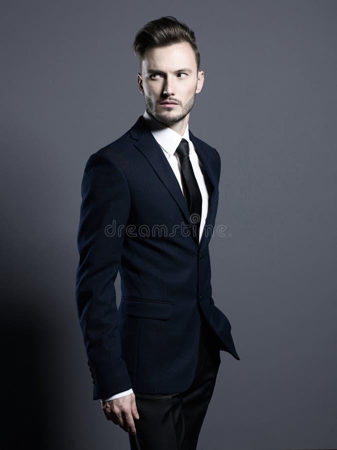 Hübscher stilvoller Mann in der eleganten Klage stockfoto