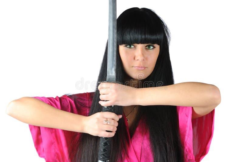 Hübsches Brunette ninja stockbild