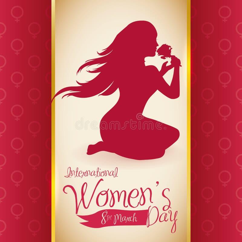 Hübsches Frauen-Schattenbild, das eine Rose am Tag der Frauen, Vektor-Illustration riecht lizenzfreie abbildung