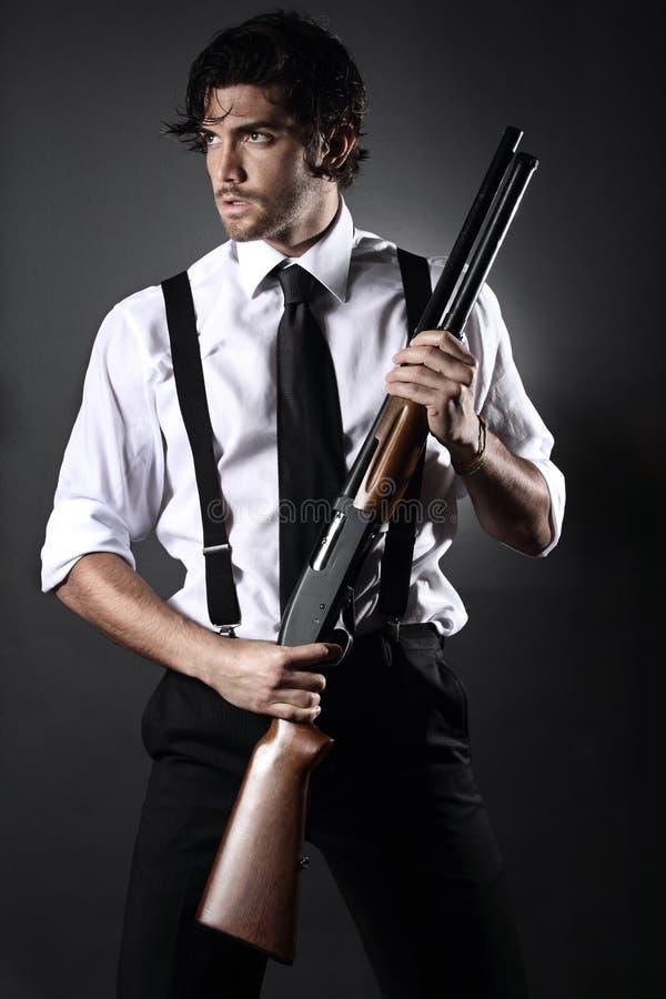 Hübsches Gangsterartmodell stockfoto