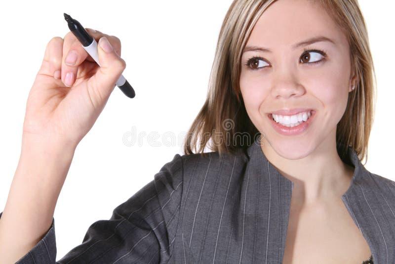 Hübsches Geschäftsfrau-Schreiben lizenzfreies stockfoto